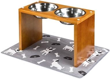 support gamelle chien bois